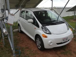 Solar powering a Mitsubishi electric car