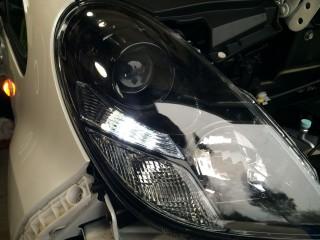 Lit up LED parking light.