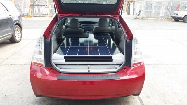 Solar panels easily fit in a Prius